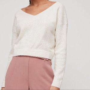 Aritzia Babaton Lita Long Sleeve Mauve Sweater Top